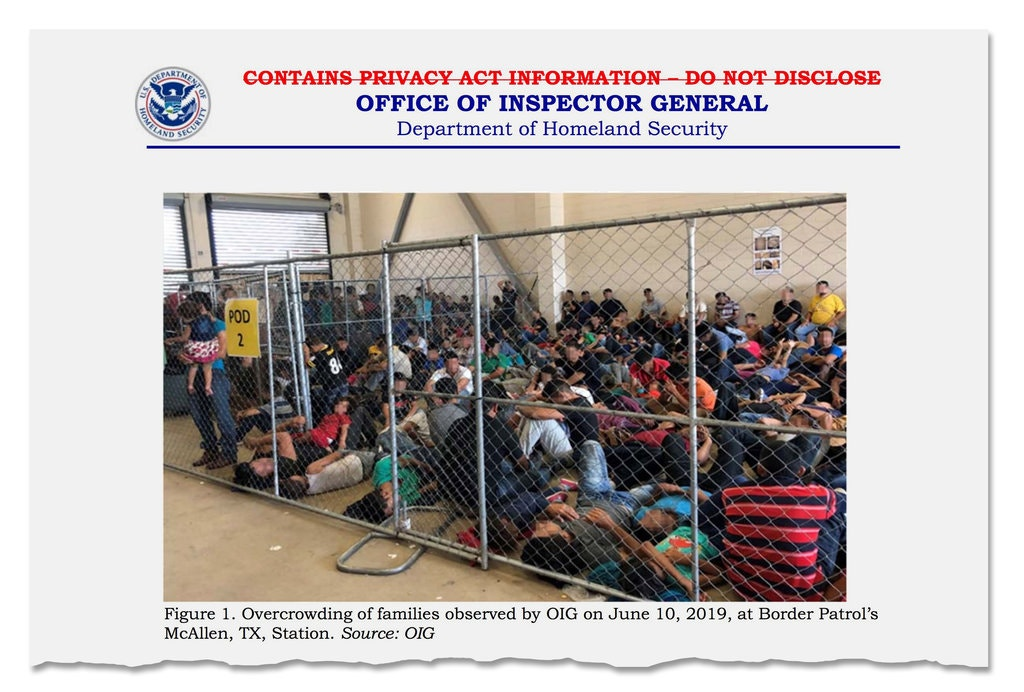 image of overcrowded at Border Patrol station at McAllen, TX June 10, 2019