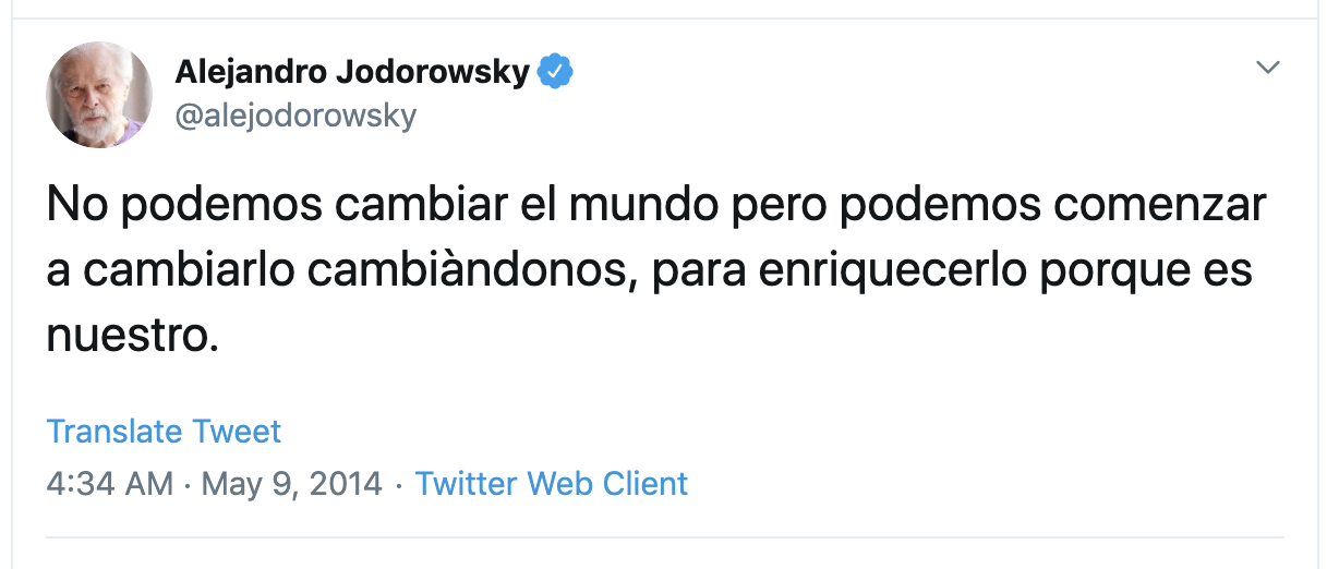 Image of Tweet by Alejandro Jodorowsky